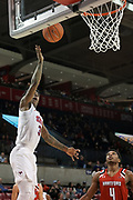 SMU Mustangs guard Kendric Davis (3) drives for a layup while Hartford Hawks guard Moses Flowers (4) awaits a rebound during an NCAA college basketball game, Wednesday, Nov. 27, 2019, in Dallas.SMU defeated Hartford 90-58. (Wayne Gooden/Image of Sport)