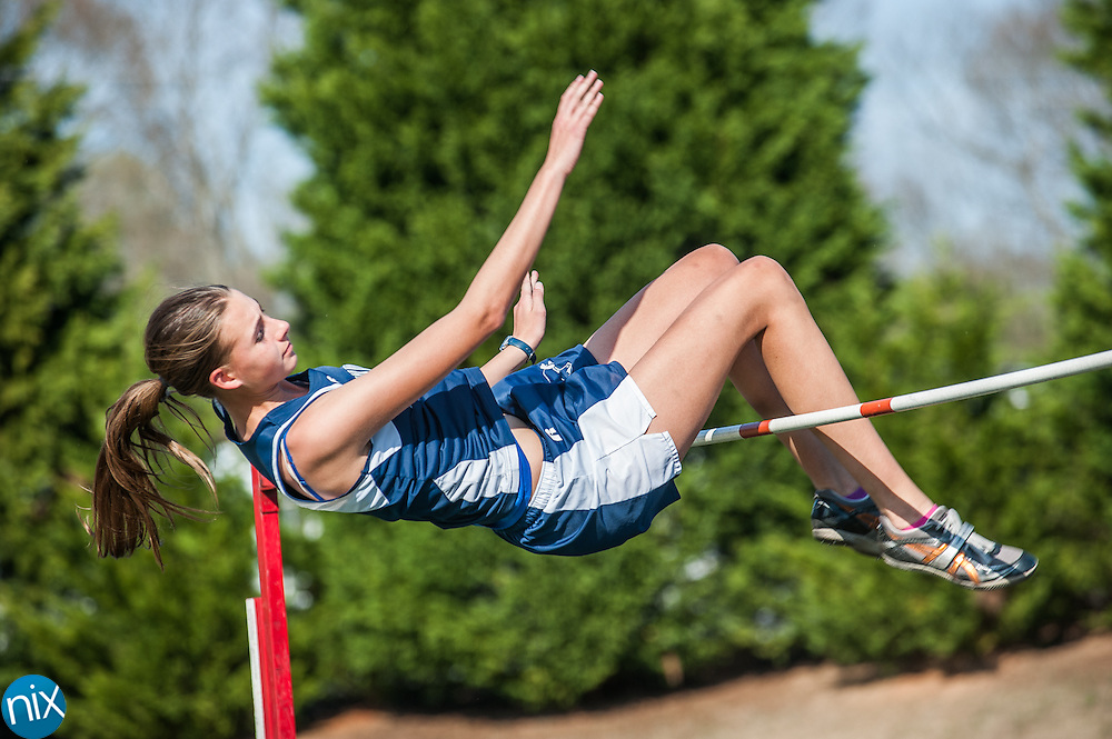 Hickory Ridge's Elizabeth Olesen competes in the girls high jump during the Cabarrus County Track and Field Championship at A.L. Brown High School in Kannapolis Wednesday afternoon.