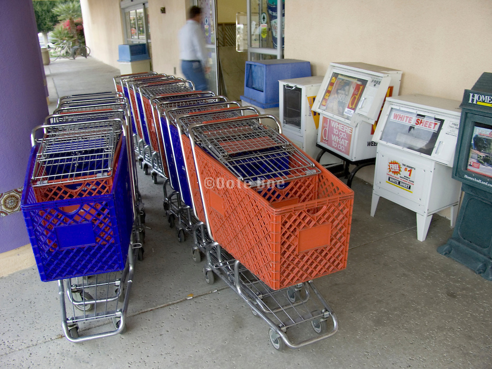 supermarket carts at the entrance to the store
