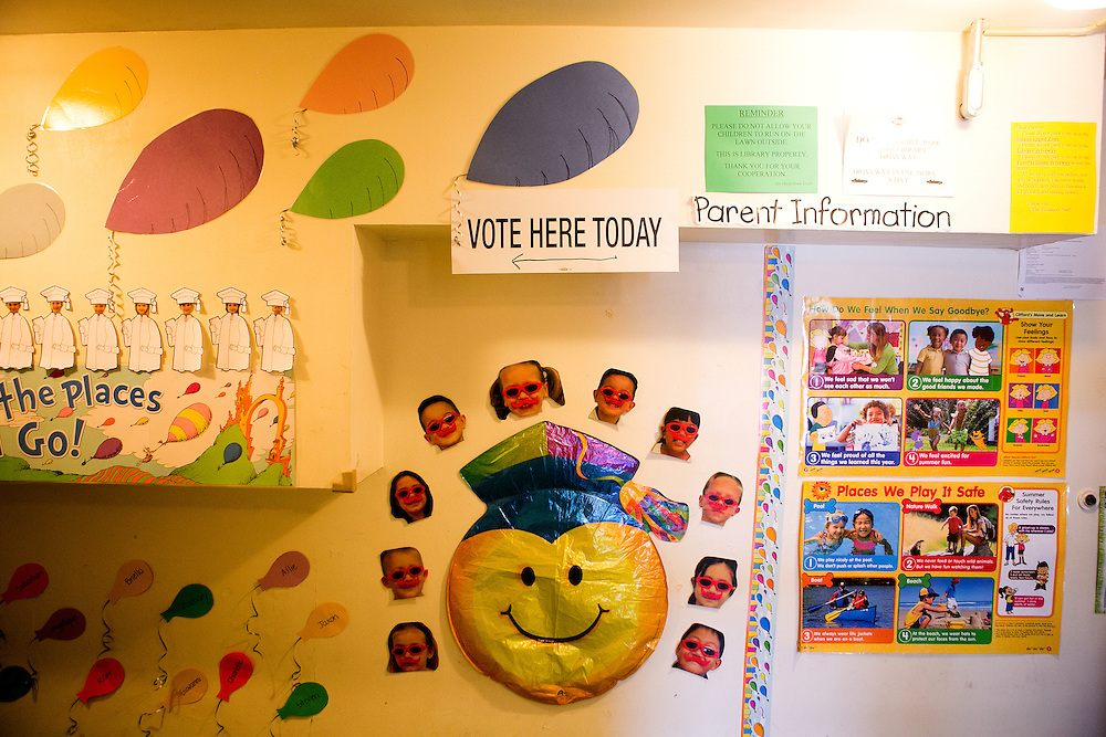 BAYONNE, NJ - JUNE 6, 2016: A sign directs voters to cast their ballots at a preschool housed in the Bayonne Public Library in Bayonne, New Jersey. CREDIT: Sam Hodgson for The New York Times.