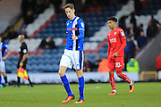 Goalscorer Joe Bunney  during the EFL Sky Bet League 1 match between Rochdale and Swindon Town at Spotland, Rochdale, England on 19 November 2016. Photo by Daniel Youngs.