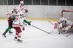 during Ice Hockey match between HK SZ Olimpija and EC KAC II during 1st round of Alps Hockey League 2019/20, on September 14, 2019, in Hala Tivoli, Ljubljana, Slovenia. Photo by Grega Valancic