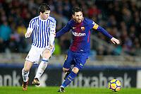 Real Sociedad's Igor Zubeldia (l) and FC Barcelona's Leo Messi during La Liga match. January 14,2018. (ALTERPHOTOS/Acero)