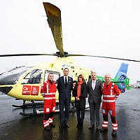 FREE TO USE PHOTOGRAPH....30.10.15<br /> Scotland's Charity Air Ambulance (SCAA) unveiled it's new helicopter at Perth airport this morning a EC135 T2i (pictured) which replaces the Bolkow 105 helicopter which is retiring from service. The new helicopter will increase speed, range, endurance and payload, allow SCAA to fly at night and in cloud. Pictured from left, Paramedic Chris Darlington, Helen Page Clydesdale Bank, John Bullough Chairman SCAA, David Craig SCAA Chief Executive and Paramedic John Salmond.<br /> for further info please contact Maureen Young on 07778 779000<br /> Picture by Graeme Hart.<br /> Copyright Perthshire Picture Agency<br /> Tel: 01738 623350  Mobile: 07990 594431