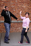 CJ Jones of Riverside (left) and Molly Guyer-Reed of Oakwood during a Lofty Aspirations improv class at The Livery in the Oregon Arts District in Dayton, Wednesday, February 15, 2012.