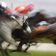 A blur of movement and motion as the horses head down the finish straight during a day at the Races at the Gore Race Meeting, Gore, Southland, New Zealand. 18th December 2011. Photo Tim Clayton