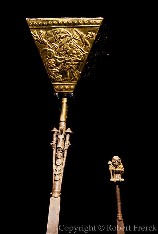 PERU, PREHISPANIC, GOLD Mochica; Lord of Sipan scepter