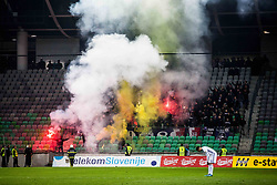 NK Maribor fans Viole during football match between NK Olimpija Ljubljana and NK Maribor in 1st leg match in Quaterfinal of Slovenian cup 2017/2018, on November 11, 2017 in SRC Stozice, Ljubljana, Slovenia.  Photo by Ziga Zupan / Sportida