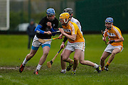 Leinster Minor Hurling - Shield Final at St Feckins GFC, 2nd April 2016<br /> Antrim vs Kildare<br /> Jeff Keane / Brian Giffney (Kildare) & Diarmaid McShane / Tiarnan Murphy (Antrim)<br /> Photo: David Mullen /www.cyberimages.net / 2016