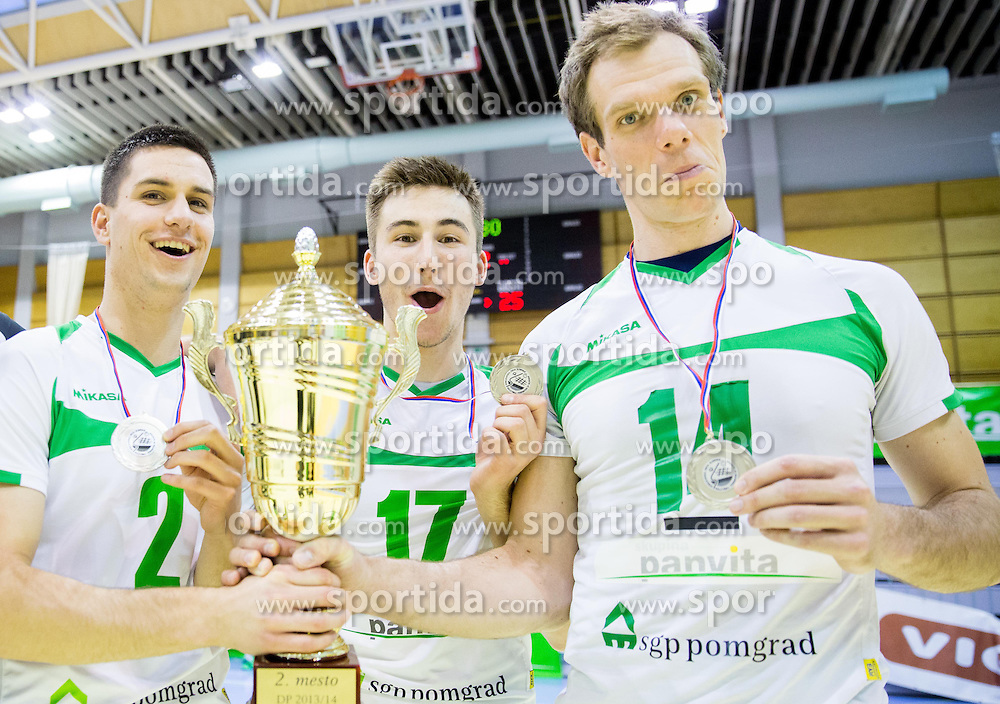 Blaz Ajlec of Panvita Pomgrad, Urban Drvaric of Panvita Pomgrad and Andrej Tot of Panvita Pomgrad after the volleyball game between OK Panvita Pomgrad and ACH Volley in Final of 1st DOL Slovenian National Championship 2014, on April 15, 2014 in Murska Sobota, Slovenia. ACH won 3-1 and became Slovenian Volleyball Champion 2014. Photo by Vid Ponikvar / Sportida