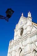 Street lamp and the Basilica di Santa Croce, Florence, Tuscany, Italy
