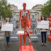 Actresses Imelda Staunton and Jodie Whittaker launch ActionAid&rsquo;s International Safe Cities for Women Day at Marble Arch, with an interactive exhibition featuring a group of 30 mannequins, London.<br /> Picture date: Thursday May 19, 2016. A third of the mannequins featured in the installation will be marked in red, to represent the one in three women who experience violence in their lifetimes. But behind every statistic is a real woman, and on each mannequin are quotes from women around the world telling their experience of urban violence and the stories behind the statistics. ActionAid is campaigning for the UK government to commit to increasing the proportion of aid going directly to women&rsquo;s groups working on the frontline in poor communities. (photo by Andrew Aitchson/ActionAid)