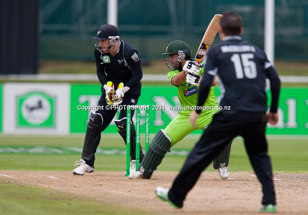 Ahmed Shehzad bats during the 5th ODI, Black Caps v Pakistan, One Day International Cricket at Seddon Park, Hamilton, New Zealand. Thursday 3 February 2011. Photo: Stephen Barker/PHOTOSPORT