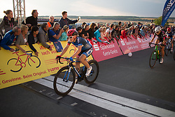 Hayley Simmonds (GBR) of Team WNT crosses the finish line on Stage 2 of the Lotto Thuringen Ladies Tour - a 102.9 km road race, starting and finishing in Dortendorf on July 14, 2017, in Thuringen, Germany. (Photo by Balint Hamvas/Velofocus.com)