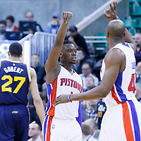 25 January 2016: Detroit Pistons guard Reggie Jackson (1) celebrates a 3 point play during the Detroit Pistons 95-92 victory over the Utah Jazz, at the Vivint Smart Home Arena, Salt Lake City, Utah, USA.