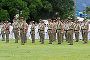 Australian army reserve soldiers in formation for Cairns 2010 ANZAC day parade service.