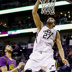 Feb 8, 2017; New Orleans, LA, USA; Utah Jazz center Rudy Gobert (27) dunks over New Orleans Pelicans forward Anthony Davis (23) during the second half of a game at the Smoothie King Center. The Jazz defeated the Pelicans 127-94.  Mandatory Credit: Derick E. Hingle-USA TODAY Sports