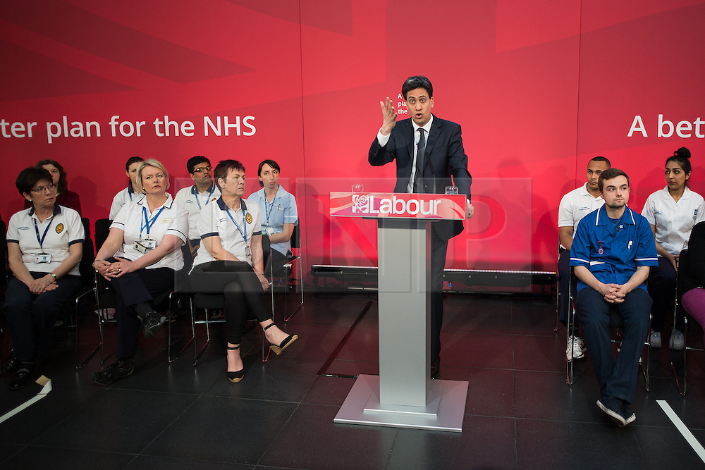 © Licensed to London News Pictures . 21/04/2015 . Manchester , UK . ED MILIBAND delivers a speech and holds a Q&A at Manchester Metropolitan University's Brooks Building . Photo credit : Joel Goodman/LNP
