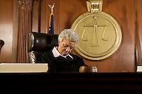 Female judge sleeping in court