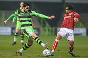 Forest Green Rovers Chris Clements(22) and Bristol City Marcus Day(11) challenge for the ball during the Gloucestershire Senior Cup match between Forest Green Rovers and U23 Bristol City at the New Lawn, Forest Green, United Kingdom on 9 April 2018. Picture by Shane Healey.