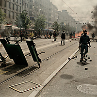 The protests during the EU summit in Gothenburg 2001, parts of which are often called the Gothenburg Riots, took place in the Swedish city of Gothenburg during the three days of the EU summit (the European Council) and EU–US Summit, 14–16 June 2001. The EU Summit focused upon EU enlargement, sustainable development, economic growth and structural reform issues. The EU–US summit included a visit by U.S. president George W. Bush on 14 June. It was the first U.S. presidential visit to Sweden, and was intended as an opportunity to discuss differences on climate negotiations, WTO and Middle East issues with the EU leaders.