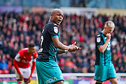 Swansea City forward Andre Ayew (22) reacts during the EFL Sky Bet Championship match between Barnsley and Swansea City at Oakwell, Barnsley, England on 19 October 2019.