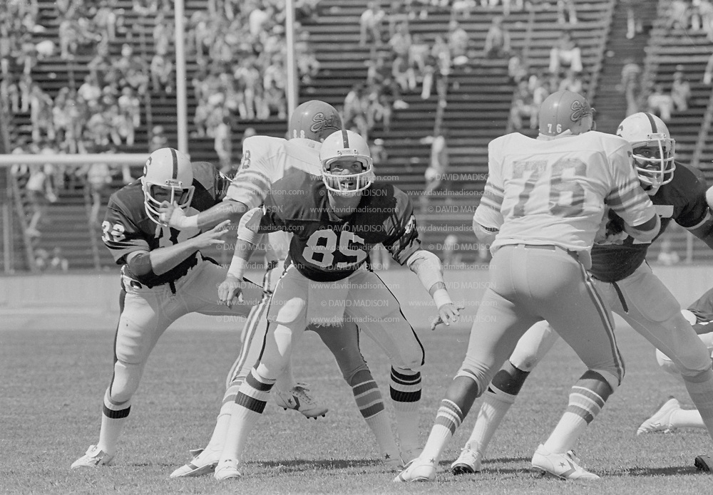 COLLEGE FOOTBALL: Stanford v San Jose State, September 15, 1979 at Stanford Stadium in Palo Alto, California. Pat Bowe #85.  Photography by David Madison (www.davidmadison.com).