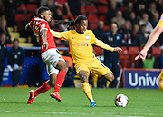 Preston North End midfielder Daniel Johnson scores Preston's third goal during the Sky Bet Championship match between Charlton Athletic and Preston North End at The Valley, London, England on 20 October 2015. Photo by David Charbit.