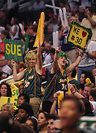 Sep 5, 2010; Phoenix, AZ, USA; Seattle Storm fans cheer during the first quarter in game two of the western conference finals in the 2010 WNBA Playoffs at US Airways Center.  Mandatory Credit: Jennifer Stewart-US PRESSWIRE