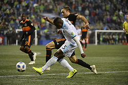 October 8, 2018 - Seattle, Washington, U.S - Seattle's NOUHOU (5) sends a ball in front of the net as the Houston Dynamo visits the Seattle Sounders in a MLS match at Century Link Field in Seattle, WA. Seattle won the match 4-1. (Credit Image: © Jeff Halstead/ZUMA Wire)