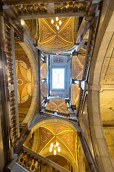 Interior view of ornate atrium inside Glasgow City Chambers with Italianate marble decoration, George Square, Glasgow, Scotland, United Kingdom.