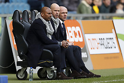 (L-R) assistant trainer Aron Winter of Ajax, coach Erik ten Hag of Ajax, assistant trainer Alfred Schreuder of Ajax during the Dutch Eredivisie match between Vitesse Arnhem and Ajax Amsterdam at Gelredome on March 04, 2018 in Arnhem, The Netherlands