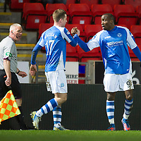 St Johnstone v Aberdeen.....30.01.13      SPL<br /> Gregory Tade celebrates his goal with Steven Maclean<br /> Picture by Graeme Hart.<br /> Copyright Perthshire Picture Agency<br /> Tel: 01738 623350  Mobile: 07990 594431