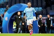 Manchester City midfielder Bernardo Silva (20) warming up during the Champions League match between Manchester City and Dinamo Zagreb at the Etihad Stadium, Manchester, England on 1 October 2019.