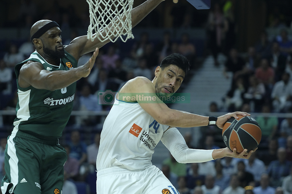April 25, 2018 - Madrid, Madrid, Spain - GUSTAVO ALFONSO AYON  of Real Madrid during the Turkish Airlines Euroleague play-off quarter final series third match between Real Madrid and Panathinaikos Superfoods at the Wizink Center in Madrid, Spain on April 25, 2018  (Credit Image: © Oscar Gonzalez/NurPhoto via ZUMA Press)