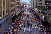 The festival of Silleteros in Medellin, where huge arrangements of flowers are carried on the backs of their farmers