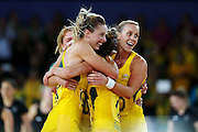 Laura Geitz of Australia celebrates with the team after winning the Netball Final between New Zealand and Australia. Glasgow 2014 Commonwealth Games. Netball Final, Silver Ferns v Diamonds, The Hydro, Glasgow, Scotland. Sunday 3 August 2014. Photo: Anthony Au-Yeung / photosport.co.nz
