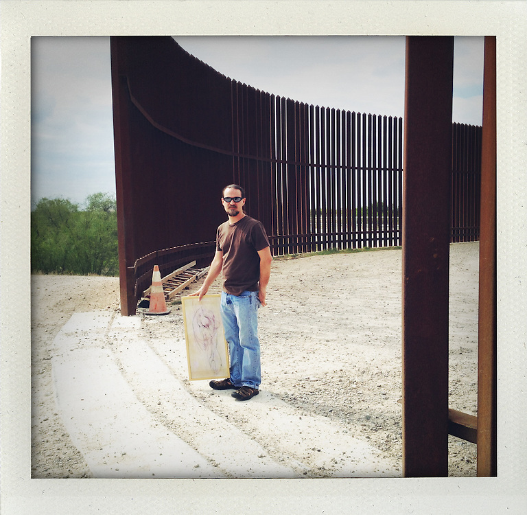 A morning with artist Scott Nicol at the border fence in McAllen, Texas.  ..My journey along the border from Brownsville and Matamoros to Juarez and El Paso..© Stefan Falke  www.stefanfalke.com..