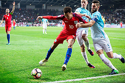 Dele Alli of England vs Benjamin Verbic of Slovenia and Bostjan Cesar of Slovenia during football match between National teams of Slovenia and England in Round #3 of FIFA World Cup Russia 2018 Qualifier Group F, on October 11, 2016 in SRC Stozice, Ljubljana, Slovenia. Photo by Vid Ponikvar / Sportida