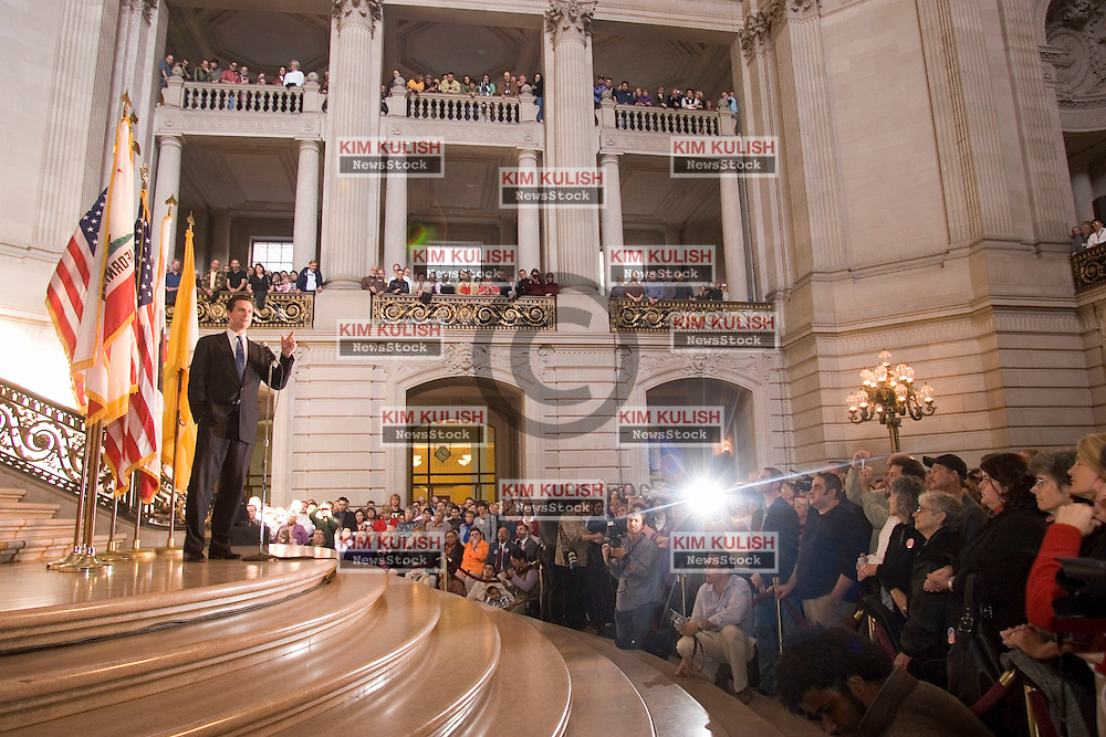 San Francisco Mayor Gavin Newsom addresses over a thousand gay  couples on the one-year anniversary of San Francisco's same-sex weddings inside City Hall Saturday, Feb. 12, 2005. Newsom urged  the crowd to continue the fight for marriage equality. Photo By Kim Kulish