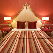 An ornately decorated room in a luxury hotel in Brussels, Belgium.