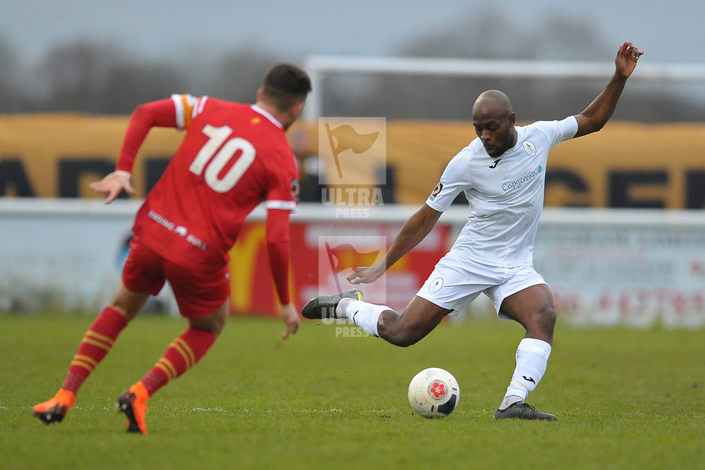 TELFORD COPYRIGHT MIKE SHERIDAN Theo Streete of Telford clears during the Vanarama Conference North fixture between AFC Telford United and Gloucester City at Jubilee Stadium, Evesham on Saturday, December 28, 2019.<br /> <br /> Picture credit: Mike Sheridan/Ultrapress<br /> <br /> MS201920-037