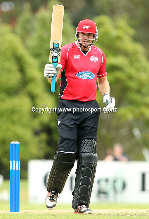 Wizards Captain Peter Fulton acknowledges his team-mates after scoring 50 runs.<br /> Otago Volts v Canterbury Wizards, 5 February 2012, University Oval, Dunedin, New Zealand.<br /> Photo: Rob Jefferies/PHOTOSPORT