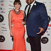 Vikki Stone and Trevor Dion Nicholas Arriver at the 18th Annual WhatsOnStage Awards 2018 at Prince of Wales Theatre on 25 Feb 2018, London, UK