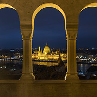 BUDAPEST, HUNGARY - DECEMBER 07:  A general view from  Fisherman's bastions towards the Hungarian Parliament on December 7, 2017 in Budapest, Hungary. The traditional Christmas market and lights will stay until 31st December 2017.