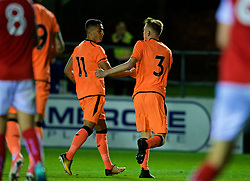 LEYLAND, ENGLAND - Friday, September 1, 2017: Liverpool's George Johnston [#3] celebrates scoring the first goal with team-mates during the Lancashire Senior Cup Final match between Fleetwood Town and Liverpool Under-23's at the County Ground. (Pic by Propaganda)