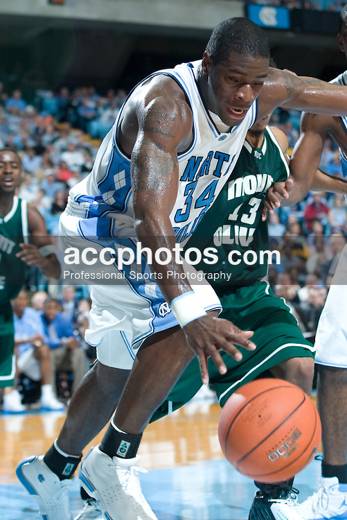 12 November 2004: North Carolina Tar Heels forward David Noel (34) in a 100-69 win over Mount Olive in Chapel Hill, NC