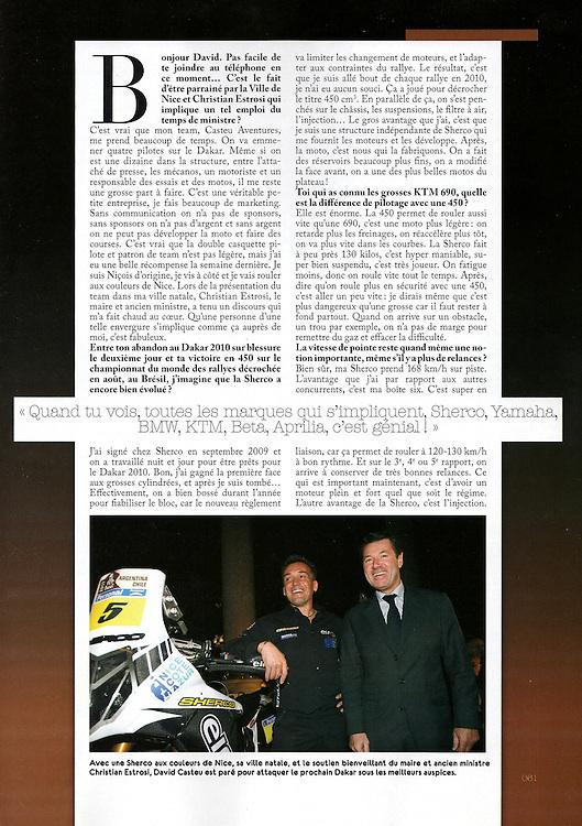 David Casteu dans le mensuel Moto Crampons pour un sujet de 3 pages (Page 2).
