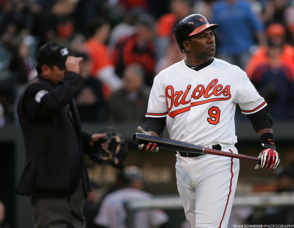 Apr 9, 2010; Baltimore, MD, USA; Baltimore Orioles third baseman Miguel Tejada (9) reacts after striking out to end the game against the Toronto Blue Jays during the ninth inning of opening day at Camden Yards. Blue Jays won 7 to 6. Mandatory Credit: Brian Schneider-www.ebrianschneider.com