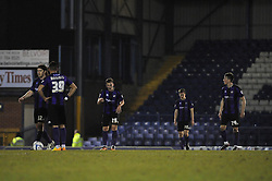 Bristol Rovers players cut dejected figures after conceding a goal - Photo mandatory by-line: Dougie Allward/JMP - Mobile: 07966 386802 01/04/2014 - SPORT - FOOTBALL - Bury - Gigg Lane - Bury v Bristol Rovers - Sky Bet League Two